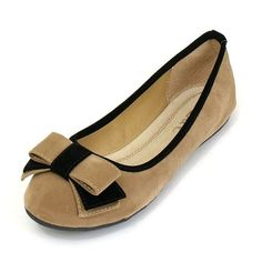 Womens Ballet Flats Casual Comfortable Shoes With Tuxedo Bow Tie Design Ballerina Faux Suede Upper Rubber Sole Rounded Toe - 5 Colors