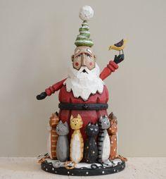 14 Kat Santa Primitive Folk Art Wood Carving by JoyHallFolkArt