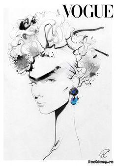 Модные иллюстрации от Nuno Dacosta - Love this Frida Kahlo style fashion illustration