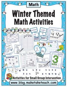 Hands-on winter themed math activities.  Number order, number concepts, missing number, addition and more! Great for math centers. $