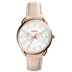 Fossil Ladies Tailor Wristwatch Rosegold in rose, Watches ($140) ❤ liked on Polyvore featuring jewelry, watches, rose, dial watches, rose gold jewelry, white dial watches, analog watches and sporty watches