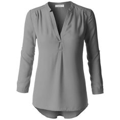 (pre-order) Gray Long Sleeve Chiffon Blouse ($40) ❤ liked on Polyvore featuring tops, blouses, grey, gray top, grey blouse, grey top, v neck long sleeve top and v-neck tops