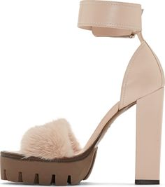 Alexander McQueen Powder Pink Leather & Fur New 39s Sandal