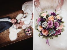 wedding in Paris (Abbaye de Royaumont). I love the flowers !  Photos by www.florianecaux.com #wedding #mariage #bouquet #flowers #purple Kate Moss style :)