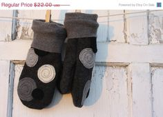Felted Mittens-Romance-Grey-Women-Teen-Upcycled Wool.