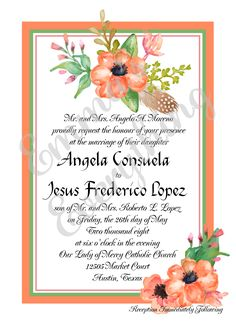 Romantic Peach Wedding/Bridal Shower Invitations