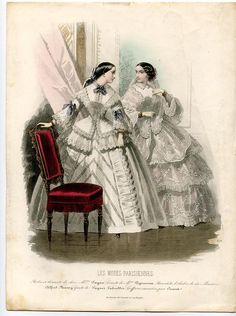 Fashion Plate, 1856 - A beautiful hand-colored engraving from Les Modes Parisiennes No. 690. With two ladies in an interior. Their crinoline fashion is mainly executed in lovely lace materials. As usual for this fashion magazine is in the details much attention. -   Artist: Montaut Millin