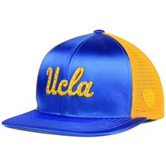 Top of the World Women's Ucla Bruins Big Faux-Satin Snapback Cap ($15) ❤ liked on Polyvore featuring accessories, hats, satin hat, logo snapback hats, top of the world hats, cap hats and logo hats