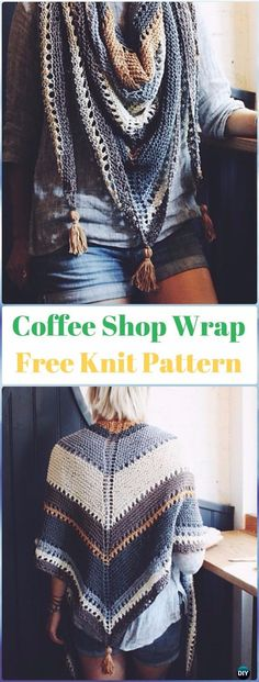 Knit Coffee Shop Wrap Shawl Free Pattern - Knit Scarf & Wrap Shawl Patterns