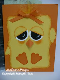 Easter card, Stampin' Up, handmade card, chick, punch art....make with round body