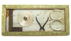 Pale Aqua Salvage Wood/Green Vintage Trim Frame and Old Tool - Repurposed Collage Wall Sign - LOVE. $52.00, via Etsy.