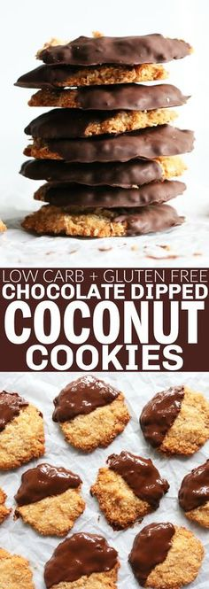 OMG!! If you guys want an easy and delicious cookie recipe, these Chocolate Dipped Coconut Cookies are for you!! They taste like chewy, crunchy, toasted coconut cookies and almost have a macaroon vibe! So fun and tasty!! thetoastedpinenut.com #thetoastedpinenut #glutenfree #grainfree #dairyfree #coconut #chocolate #cookies #paleo #dessert