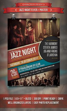 Jazz Night Flyer / Poster Template PSD