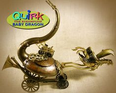 """Quirk the steampunk baby dragon... 19"""" tall and 23-25"""" long ... and adorable"""