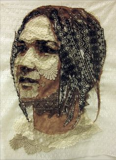 The concept for this group of work stems off of the stitched portraits. Painting with lace, I used traditional mapping techniques to create value and depth within the portraits. Portrait Embroidery, Embroidery Art, Collages, Collage Art, Textile Fiber Art, Textile Artists, Creative Textiles, Free Motion Embroidery, Thread Painting