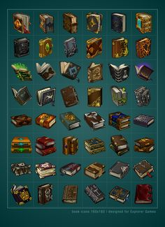 ArtStation - Book icons, Sylwia Smerdel