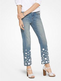 Floral Sequined Jeans