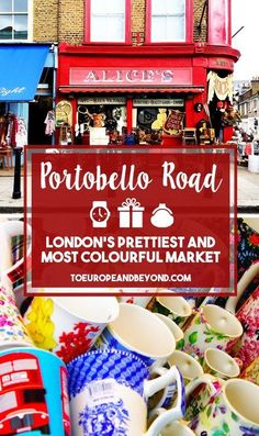 What makes the market truly unique is the juxtaposition of the incredibly diverse trinkets next to the boldly coloured townhouses that Notting Hill is so famous for. This, to me, is what makes the market to quintessentially London. http://toeuropeandbeyond.com/portobello-road-market-photos/ #travel #London