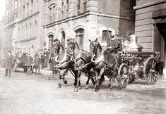This picture was taken in 1905, and shows the Wenatchee, Washington Fire Department. I wonder how long it took them to get the horses harnessed when a call came in