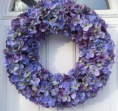 Wreaths For Door Cape Cod Blues Hydrangea Spring Wreath Year Round 20 Inch Wreath for Everyday Decorating Hang On Protected Front Door Indoor Wreath Shades of Blue and Purples Fits Between Storm Door Lavender Wreath, Hydrangea Wreath, Sunflower Wreaths, Hydrangea Flower, Floral Wreath, Flowers, Front Door Decor, Wreaths For Front Door, Indoor Wreath