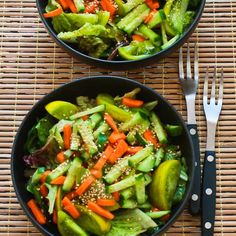 Recipe for Amazing Asian Green Salad with Soy-Sesame Dressing and Sesame Seeds; you can omit the carrots for a lower-carb version.  [from KalynsKitchen.com] #Vegan #GlutenFree #KidFriendly