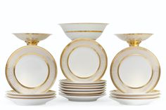 A PARIS PORCELAIN GOLD-GROUND PART DINNER SERVICE 19TH CENTURY 19th Century, Lee Radziwill, Candle Holders, Objects, Auction, Porcelain, Plates, Dinner, Gold