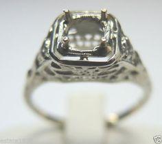 Antique Diamond Engagement Ring Setting Mounting Mount Hold 5-5.5MM 14K Vintage