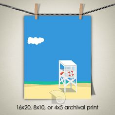 Lifeguard chair beach illustration North Carolina Carolina Beach beach print ocean wall art beach house decor coastal paintings by CoastalFocusArt |  5.00 USD  The Lifeguard Chair is one of a series of beach scenes all done in the same illustration style. You can put one or more of them together to create a full wall of fun cheerful beach house decor with a simple flat illustrative style. Please note: The print does NOT come with a watermark.  FREE US SHIPPING ON ALL PRINTS  All other…