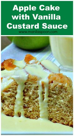 This scrumptious Apple Cake is moist and flavorful while the custard sauce is simply divine! Brownie Desserts, Oreo Dessert, Mini Desserts, Easy Desserts, Delicious Desserts, Autumn Desserts, Dessert Ideas, Yummy Food, Custard Sauce