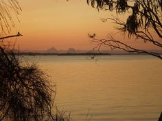 The Glass House Mountains from the calm side on beautiful Bribie Island - my idea of paradise, and nature at its best! Australia Day, Glass House, Thats Not My, Paradise, Calm, Island, Mountains, Sunset, Country