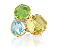 Symmetry: 18Kt Gold & Sterling Ring with Lemon Quartz, Aquamarine and Peridot