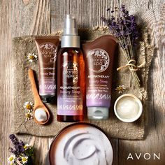WORTH me: Relax & rejuvenate with our French lavender and chamomile essential oils pre-sleep must-haves. Avon Planet Spa, Lotion, Chamomile Essential Oil, French Lavender, Avon Representative, Sleep Mask, Planets, Sleeping Beauty, Aktiv