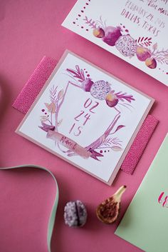 Who doesn't love a gorgeous wedding crest to use throughout your wedding papers? This one features custom watercolor details with the theme being a fun pomegranate vibe! Clara Doyle Designs