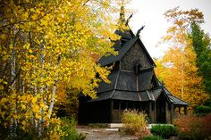 Wisconsin-fall-color-at-a-Door-County-stave-church