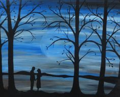 "New romantic scene painting, ""There was only ever you"" original artwork, silhouette couple in love, blue moon landscape, 24x30 wall art"