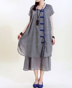 cotton Loose Fitting comfort long dress Two layers  by MaLieb, $99.00