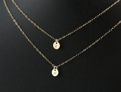 Two Tiny Initial Necklace. Personalized Layer Necklace. 14k Gold Filled Double Initial Necklace.Small Simple Initial. Personalized Gift.