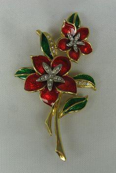 Vintage Red Green Enamel Flower Brooch Rhinestone by TheFashionDen, $21.00