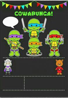 Invitación Ninja tu Ninja Turtle Birthday, Ninja Turtle Party, Ninja Turtles, 4th Birthday, Ninja Turtle Invitations, Ninja Party, Ideas Para Fiestas, Tmnt, First Birthdays