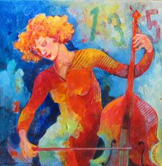 Swinging at Club 135 - painting of a young woman cello player in full swing!