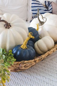 Painting Faux Pumpkins will save you a bunch of money!, Painting Faux Pumpkins will save you a bunYou can . Blue Fall Decor, Fall Home Decor, Autumn Home, Faux Pumpkins, White Pumpkins, Painted Pumpkins, Diy Gifts For Christmas, Coastal Fall, Blue Party Decorations