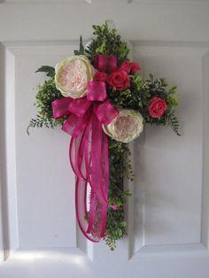 SALE Easter Cross Wreath Cemetary Cross Front Door by FunFlorals