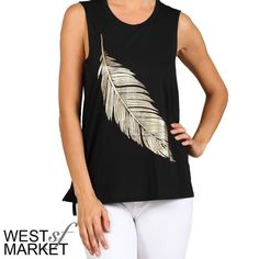 Light as a Feather Tank Black muscle tank with a gold feather on the front. Small slits on the sides. West Market SF Tops Tank Tops