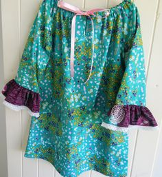 Art Gallery Fabric, Sis Boom Pattern, little girl's peasant dress with 3/4 length sleeves.