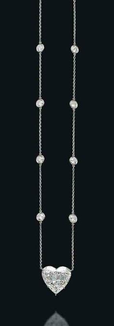 A heart-shaped diamond necklace
