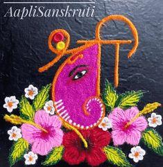 Indian Rangoli Designs, Colorful Rangoli Designs, Rangoli Designs Images, Beautiful Rangoli Designs, Ganesh Rangoli, Ganesha, Festival Rangoli, Special Rangoli, Free Hand Rangoli Design