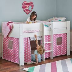 Paddington Mid Sleeper Bed with Pink Star Play Den - All Children's Beds - Beds & Mattresses
