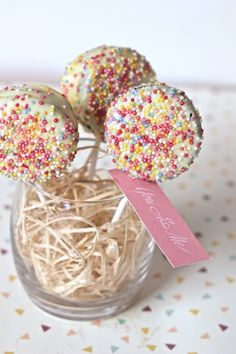 Oreo pops with sprinkles