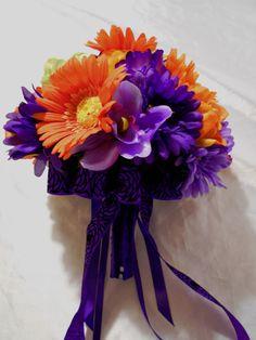 24 pc Wedding Bridal Bouquet Decor Package Silk Flower Bouquets Purple Orange #KarensRoseGarden