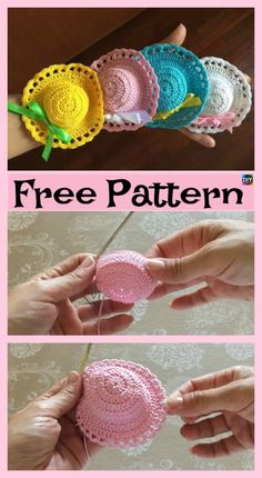 6 Cutest Crochet Mini Hat Free Patterns #freecrochetpatterns #minihat #decoration
